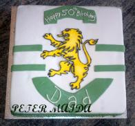 A Portuguese soccer team cake called Sporting. The lion logo is all one piece made with royal icing!