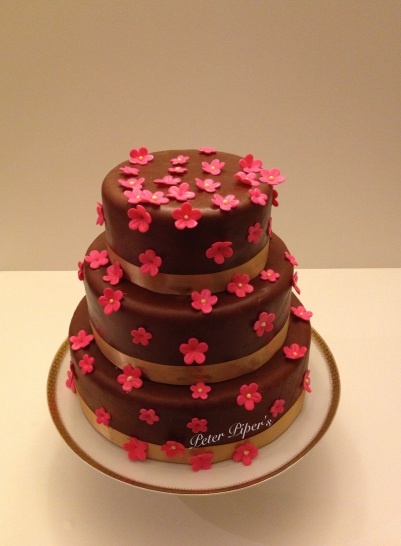 Three Tier Chocolate Fondant & Pink flowers