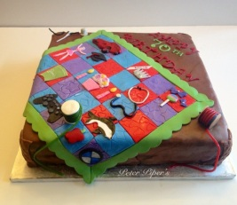This is all cake, all edible and each square is personally designed per person