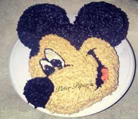 Mickey Mouse hand piped cake